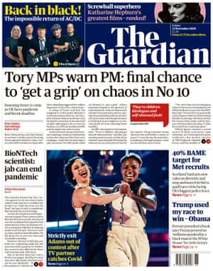Guardian front page, Friday 13 November 2020