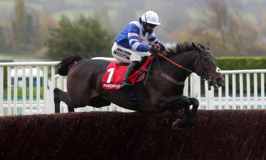 Frodon and Bryony Frost clear the last on their way to victory at Cheltenham