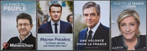 Election posters for four leading candidates