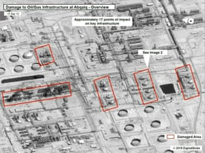 A satellite image showing damage to oil/gas infrastructure from weekend drone attacks at Abqaiq.