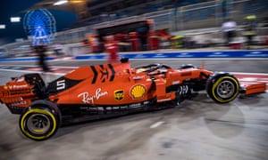 Ferrari's Sebastian Vettel takes part in Friday's second practice session for Sunday's Bahrain Grand Prix at the Sakhir circuit.
