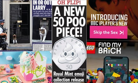 Larry's catflap, Hello Fresh's Unicorn Box, a new 50pence piece, the iPlayer's new Skip the Sex button and Lego's Find My Brick