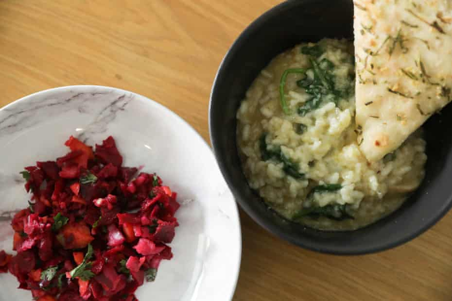 Salad, risotto and pizza dough, cooked in a Thermomix