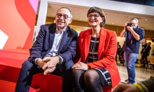 The newly elected co-leaders of the SPD, Norbert Walter-Borjans and Saskia Esken.