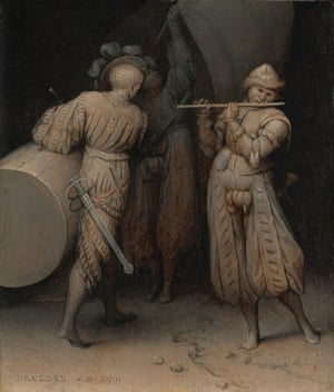 Three Soldiers, from Bruegel in Black and White: Three Grisailles Reunited, at the Courtauld Gallery. London