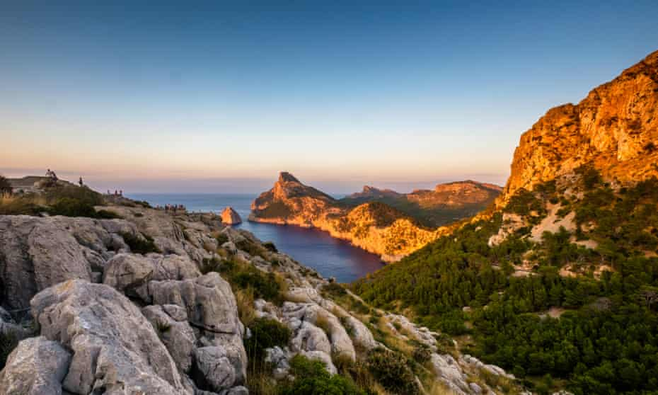 Mallorca: a view of the rocky island at sunset.