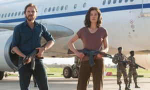 Damp squib … Daniel Brühl and Rosamund Pike in Entebbe.