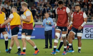 Eddie Jones watches his players train before the World Cup final.