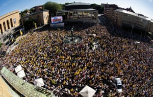 Crowds gather in Gothenburg to welcome home the Sweden team.