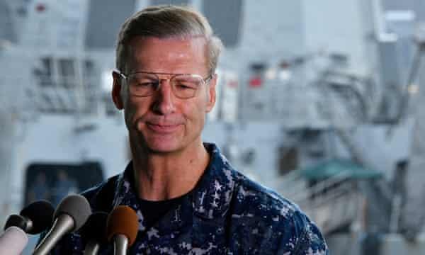 Vice Admiral Joseph Aucoin, Commander of the US 7th Fleet during a press conference at Yokosuka Naval Base in Yokosuka, south of Tokyo, Japan.