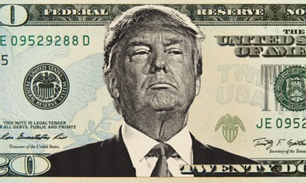 A detail from a composite image of a Donald Trump 20-dollar bill.