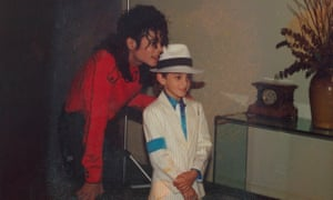 Chilling … Michael Jackson with the young Wade Robson.
