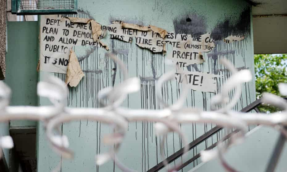 The remnants of a protest against the plan to demolish the Aylesbury estate