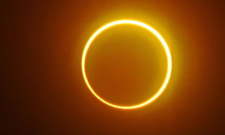 'Ring of fire' solar eclipse seen on Boxing Day – video