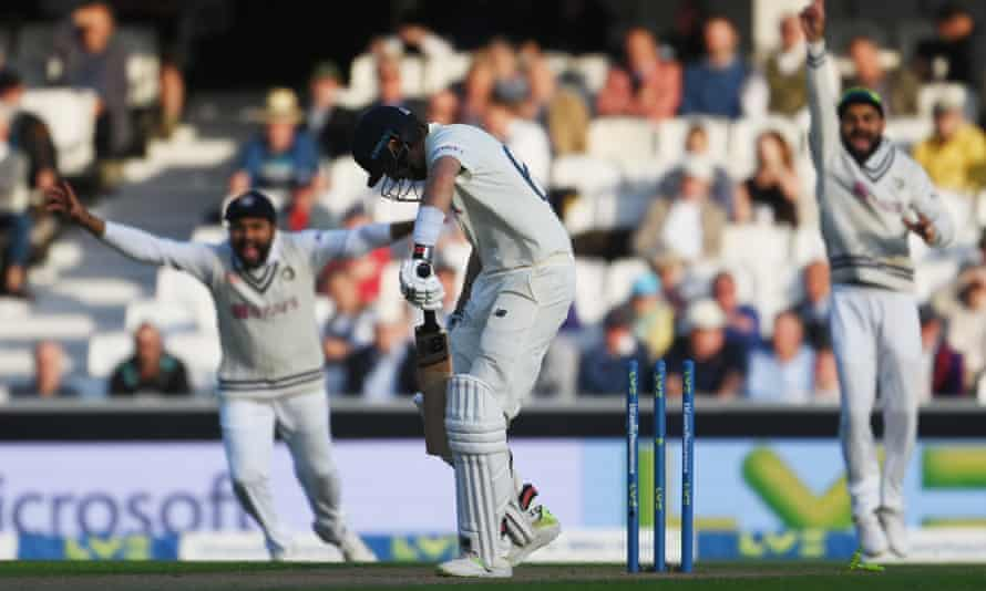 Joe Root is bowled by Umesh Yadav late on the first day of the fourth Test.