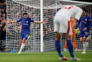 Pedro celebrates scoring Chelsea's third.