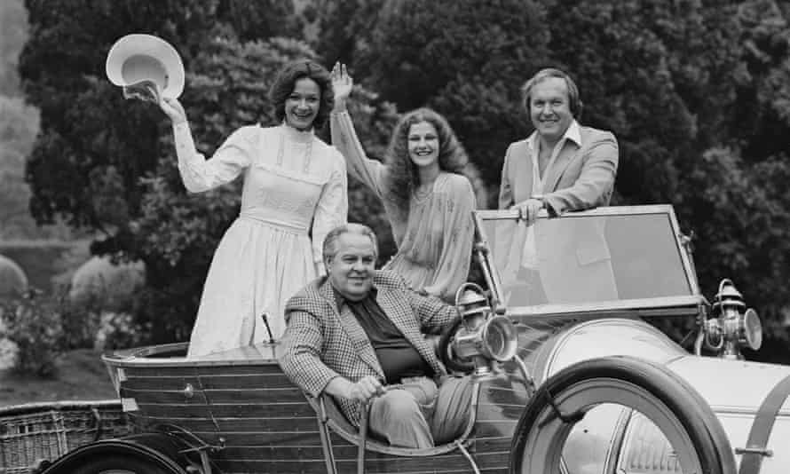 Chitty Chitty Bang Bang, the magical car from Ian Fleming's story, as designed by Peter Lamont, right, for the 1968 film. With him are, from left, Amanda Slayton, Michaela Pain and, front, Albert Broccoli, the film's producer.