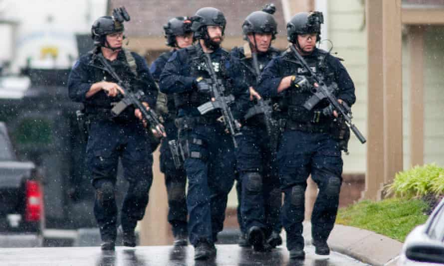 A Swat team in action in Nashville, Tennessee.