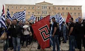 Supporters of the Golden Dawn gather in front of the Greek parliament in 2014.