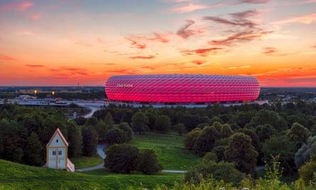 Famous football stadium Allianz Arena in Munich, Bavaria, Germany, EuropeJJT2T1 Famous football stadium Allianz Arena in Munich, Bavaria, Germany, Europe