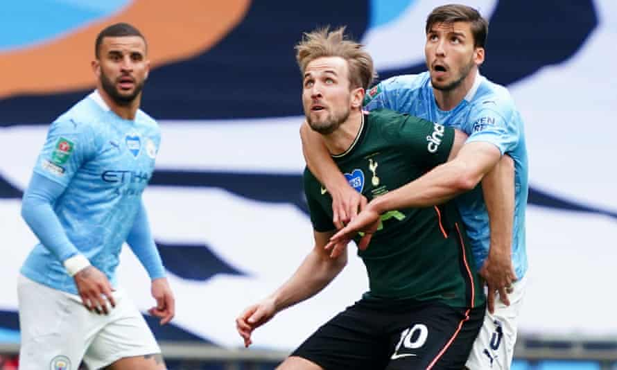 Harry Kane in action against in April's Carabao Cup final against Manchester City, the club he wants to join.