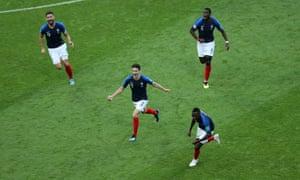 Benjamin Pavard scores for France against Argentina.