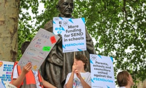 Children protest  in Parliament Square to highlight the funding crisis in special education needs and disabilities (Send).