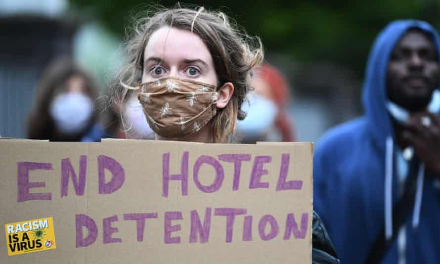 Demonstrators in Scotland call for an end to the detention of asylum seekers in hotels after six people were injured in a knife attack at a hotel in Glasgow in June.