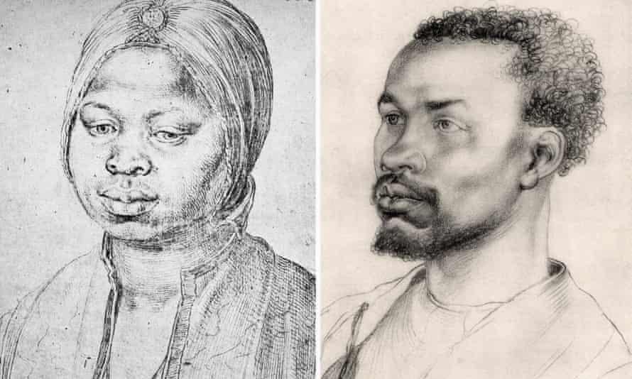 Albrecht Dürer's Portrait of Katharina, 1521; and Portrait of an African, 1508.
