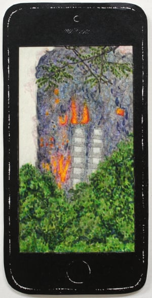 Grenfell, by Maartje Schalkx. Graphite, colour pencil, felt-tip pen and screenprint.