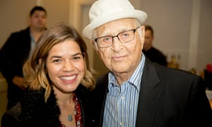 Podcast guest America Ferrera with veteran host Norman Lear.