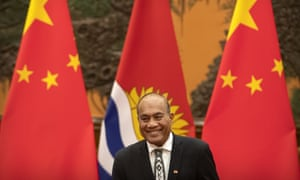 The President of Kiribati Taneti Maamau, pictured here in the Great Hall of the People in Beijing, China. Maamau's government switched allegiance from Taipei to Beijing in 2019.