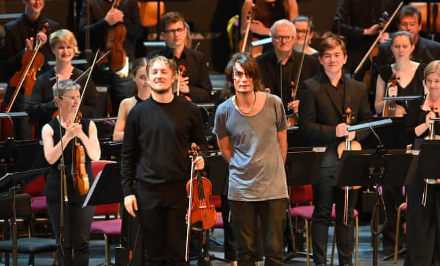 'He is superhuman' … Greenwood with violinist Daniel Pioro at this year's Proms.