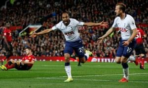 Lucas Moura celebrates scoring Tottenham's second goal against Manchester United.
