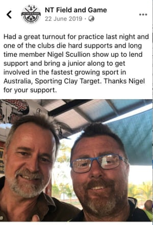 """A Facebook post from NT Field and Game describing Scullion as one of its """"die hard supports"""" and a """"long time member""""."""