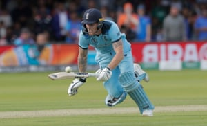 Ben Stokes dives to make his ground but the ball deflects off his bat for four overthrows in the World Cup final against New Zealand.
