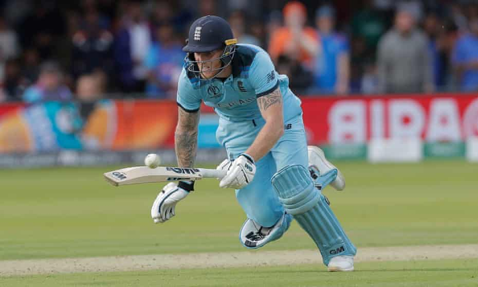Ben Stokes dives to make his ground but the ball deflects off his bat for overthrows that resulted in six runs.