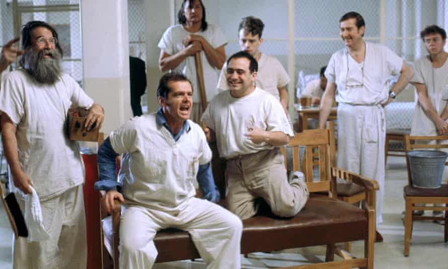 'Completely uninhibited': Jack Nicholson, second from left, with (l-r) Delos V Smith Jr, Will Sampson, Danny DeVito, Brad Dourif and William Redfield.