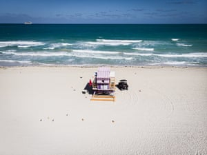 An aerial view of South Beach after Miami-Dade Mayor ordered the closure of all beaches in the county