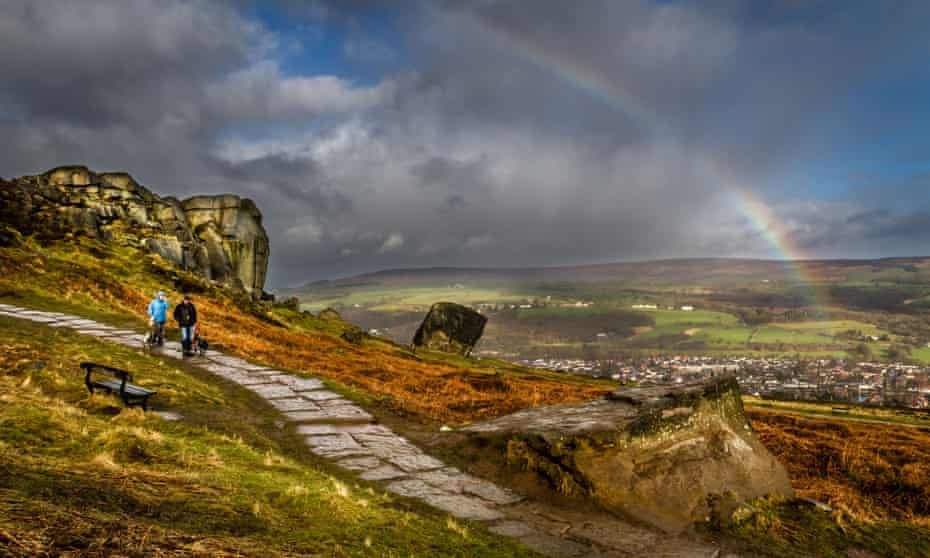 A rainbow over Ilkley Moor taken from the Cow and Calf rocks.
