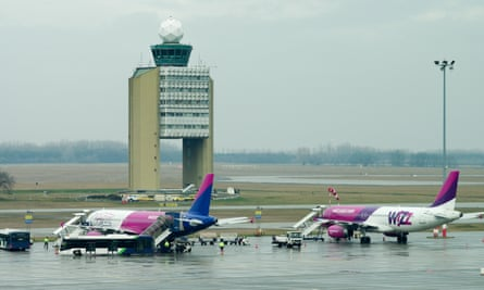 Wizz Air aircraft grounded at Budapest Airport.