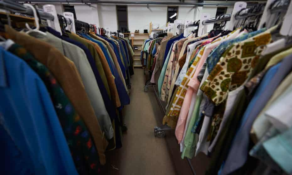 Racks of period costumes, including kaftans for Margaret and suits for Anne.