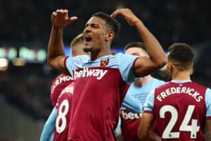 Sebastien Haller of West Ham United celebrates.
