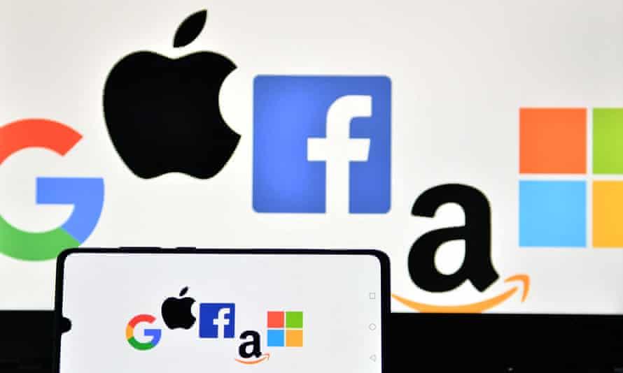Logos for Google, Apple, Facebook, Amazon and Microsoft.