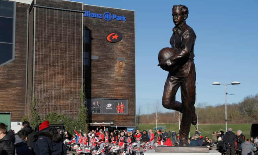 A statue of William Webb Ellis outside Allianz Park, home of the champions, Saracens, who have been relegated after being found guilty of salary cap breaches.