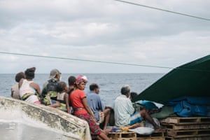 Passengers on board the evacuation ship travelling from Ambae to Maewo, Vanuatu. Approximately 4000 of the 11,000 Ambae residents have officially registered to relocate to Maewo following the most recent volcano activity.