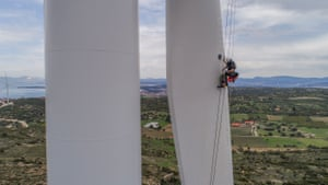 Izmir, Turkey A technician works on a wind turbine on a hilltop in Izmir