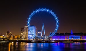 The London Eye is lit up blue to show appreciation