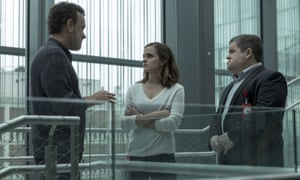 Tom Hanks, Emma Watson and Patton Oswalt in a scene from The Circle, the film about a fictional social network.