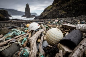 Canna in the Hebrides, Scotland. Greenpeace found plastic bottles, bags, packaging and plastic fragments strewn found on more than 30 beaches in remote areas
